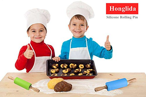 Honglida 9 Inch Silicone Rolling Pin for Kids, Non-stick Surface and Comfortable Wood Handles(Pack of 2) by HONGLIDA (Image #5)