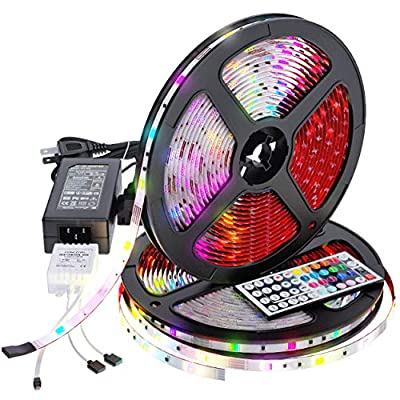 Upgraded 2020 LED Strip Lights Kit 32.8ft w/Extra Adhesive 3M Tape - Non-Waterproof Professional Lighting 300 LEDs RGB Light, 44 Key Remote, Flexible Changing Multi-Color Lighting Strips for TV, Room