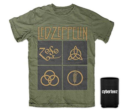 [Led Zeppelin IV Black Box Symbols Zoso Men's T-Shirt + Koozie (L)] (Led Zeppelin Zoso T-shirt)