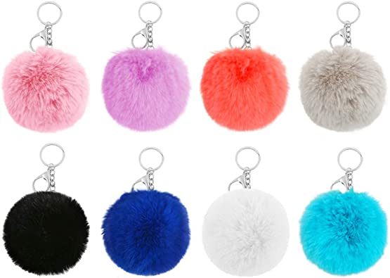 Exquisite Rings Key Chains Faux Fur Soft Poms Balls Jewelry Handbag Fluffy Chain