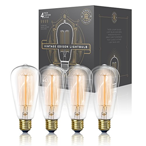 - Vintage Edison Light Bulb 60W (4 Pack) - Dimmable Exposed Filament - Incandescent Clear ST58 Teardrop Squirrel Cage Style - E26 Medium Base 2700K - 210 Lumens ... (4 Pack)