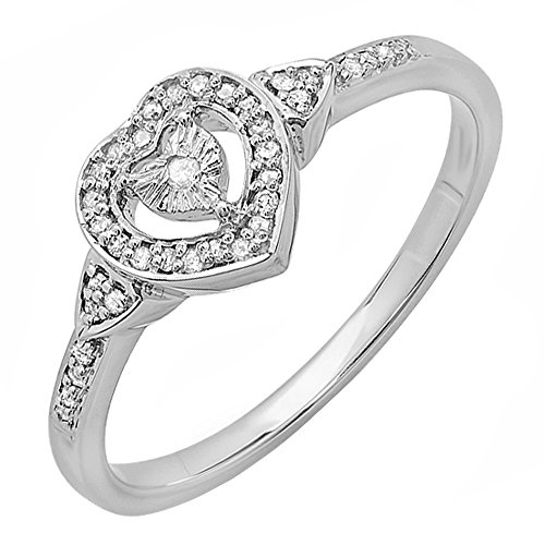 (Dazzlingrock Collection 0.15 Carat (ctw) Sterling Silver Round White Diamond Ladies Bridal Heart Shaped Promise Ring, Size)