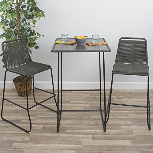 MIX Industrial Chic Indoor Outdoor Pub Table and Bar Stools Grey/Black Three Piece Bar ()