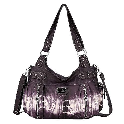 Angel Kiss Handbag Hobo Women Handbag Roomy Multiple Pockets Street ladies' Shoulder Bag Fashion PU Tote Satchel Bag for Women (AK19244-3Z Purple), Large