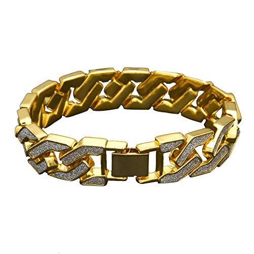 Bracelet Sand Stainless Steel Cuff (Drindf New Sand Explosion Hip Hop Bling Cuban Bracelet Sand Explosion Chain Gold Silver Mens Bracelet (Gold))