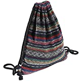 Farway Drawstring Bag Knit Beach Gym Boho Bohemia Style Backpack Outdoor Travel Shopping Sack Bags for Woman Unisex - Pattern 1