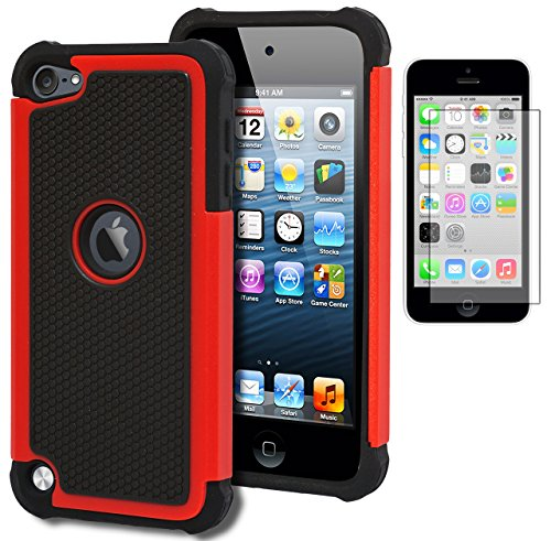 iPod Touch 5 & 6 Case, Bastex Heavy Duty Hybrid Protective Case - Soft Black Silicone Cover with Black and Red [Shock] Design Case for Apple iPod Touch 5 & 6[Compatible with iPod Touch 6]