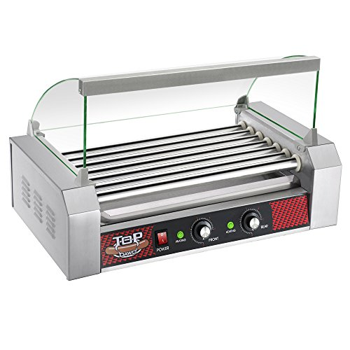Great Northern Top Dawg Commercial 7 Roller Stainless Steel Hot Dog Machine With Cover (Appliance Roller Steel)