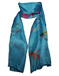 Hand-Painted 100% Silk Scarf - Dragonflies on French Blue