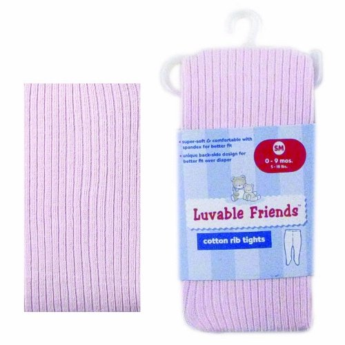 (Luvable Friends Girls' Cotton Rib Tights for Baby, Pink, 18-24 Months)