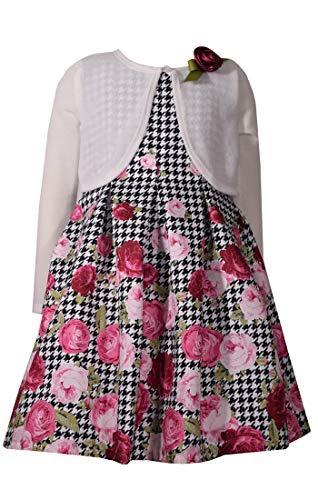 Bonnie Jean Floral Sleeveless Dress with White Sweater Cardigan for Little Girls (6X)