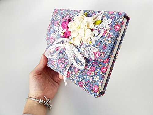Handmade Book album scrapbook gift for happy birthday Style Shabby Chic flowers Romantic Love, Valentine Day Valentine's Valentines Woman Mom, Lovely For Her And Him, memories fabric cotton classic