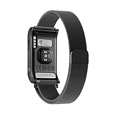 Garmin vívoactive HR replacement band,Oitom Milanese loop Stainless Steel Bracelet Strap for GARMIN VIVOACTIVE HR Smart Fitness Watch, Black, White, Large with unique Magnet lock