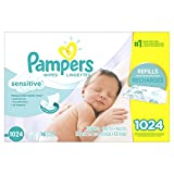 Pampers Baby Wipes, SENSITIVE, 16X Refill Packs, 1024 Count (Packaging May Vary)