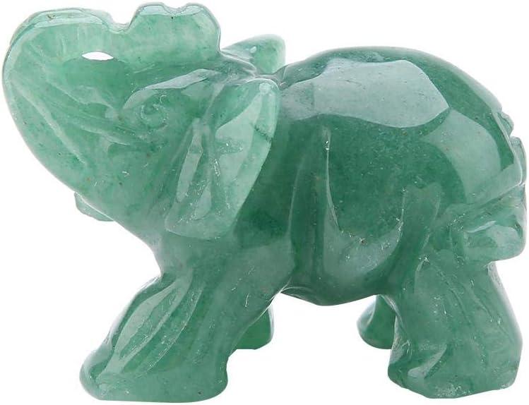 Hilitand Crystal Elephant Figurines,2inch Natural Jade Carved Elephant Crystal Figurine Home Decoration Furnishing Article(Green Aventurine)
