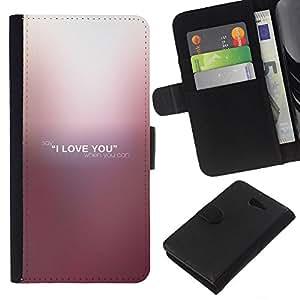YiPhone /// Tirón de la caja Cartera de cuero con ranuras para tarjetas - TE AMO - Sony Xperia M2
