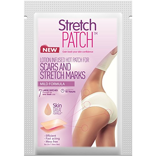 StretchPatch MILD Formula, Lotion Infused Hot Patch for Scars and Stretch Marks - Sensitive Skin, 7 ea (10x 18 cm)