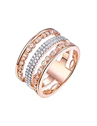 Newshe Sterling Silver 14k Rose Gold Plated Engagement Wedding Rings with Cubic Zirconia Size 5-10