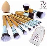 Start Makers 11 piece Bamboo Handles Makeup Brushes Foundation Blending Blush Concealer Eye Face Powder Cream Cosmetics Brushes Kit and a Mini sponge