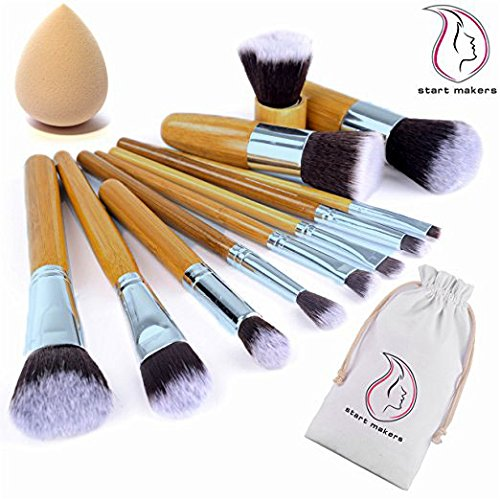Start Makers ® 11 piece Bamboo Handles Makeup Brushes Foundation Blending Blush Concealer Eye Face Powder Cream Cosmetics Brushes Kit and a Mini sponge