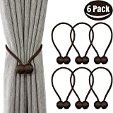 curtain tie back ideas Melaluxe 6 Pack Magnetic Curtain Tiebacks, Decorative Curtain Holdbacks for Window Décor (Coffee)