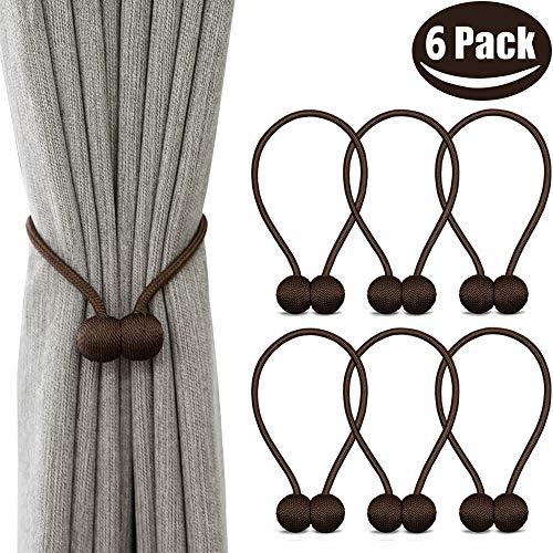 Melaluxe 6 Pack Magnetic Curtain Tiebacks, Decorative Curtain Holdbacks for Window Décor (Coffee)