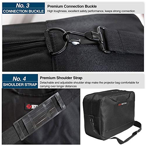 Universal Projector Carrying Case Soft Laptop Travel Shoulder Bag with Detachable Shoulder Strap - 14x12x5 inch - for Optoma HD142X, ViewSonic PJD7828HDL, Epson EX3240 and More Small Travel Projectors by WIKISH (Image #4)
