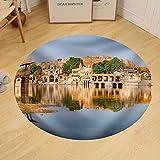 Gzhihine Custom round floor mat Gadi Sagar (Gadisar) Lake is One of the Most Important Tourist Attractions in Jaisalmer Rajasthan North India