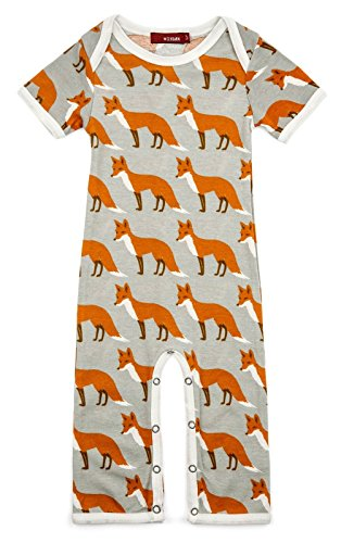 Milkbarn Organic Cotton Short Sleeve Romper (Orange Fox, 3-6 (Cotton Short Sleeve Romper)