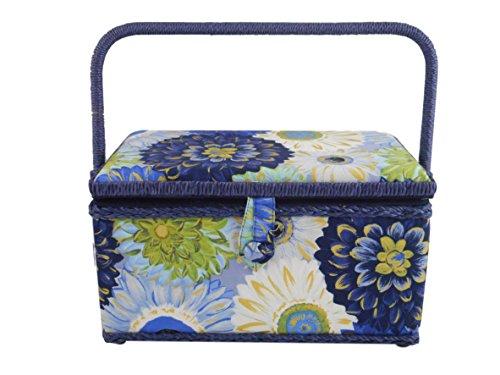 Sale!! Medium Rectangle Sewing Basket Box with Tray Pincushion 11x7x6.5 (11x7x6.5, Navy, White, & Bl...