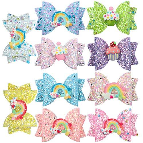 XIMA 10pcs hair bows for girls Children Barrettes Kid Hair Clips Spark Glitter Sequin 3Inch Bow Rainbow Accessories Spring Fashion Headwear (10pcs-Hair ()