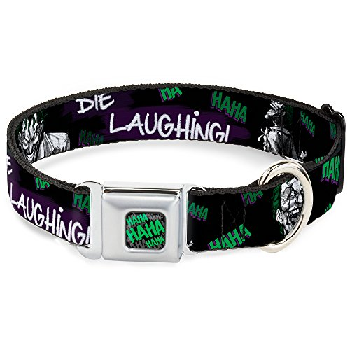 Dog Collar Seatbelt Buckle Joker Die Laughing Haha Black Purple Green 15 to 26 Inches 1.0 Inch Wide -
