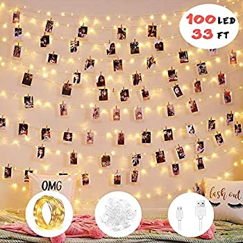 2019 Upgrade Version 100 LED Photo Clip String Lights -Fairy String Lights - 8 Modes Waterproof USB/Battery Powered Decor Lights with 100 Clear Clips for Birthday Party Bedroom Wall Decor Wedding