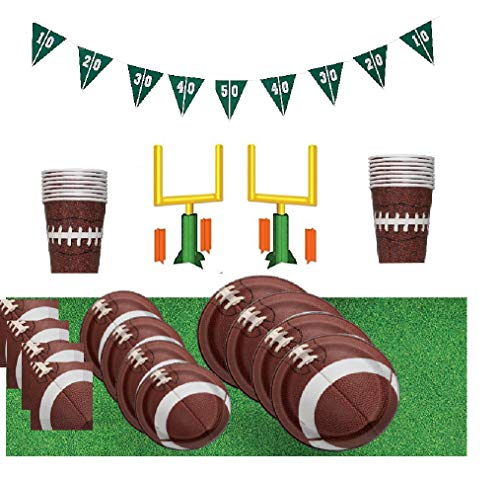 Football Deluxe Birthday Party Supplies for 16 Guests – Plates, Cups, Napkins. Centerpieces, and Goal Banner ()
