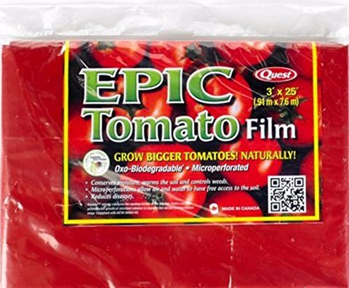 Film Mulch Red - Quest Epic Tomato Garden Weed Barrier Biodegradble Microperforated Film 3' x 25'