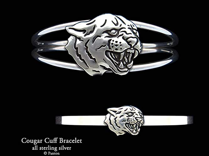 ba09fe91d2ab2 Amazon.com: Cougar Panther Head Sterling Silver Cuff Bracelet by ...
