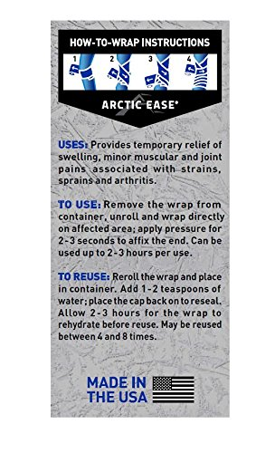 """Arctic Ease Reusable Instant Cold Wrap, Large Size, Measures 4"""" X 60"""", Sized for Large Joints/Muscles Including Hamstring, quads, Thigh, Shoulders, Knees and Hips, Blue by Arctic Ease (Image #1)"""
