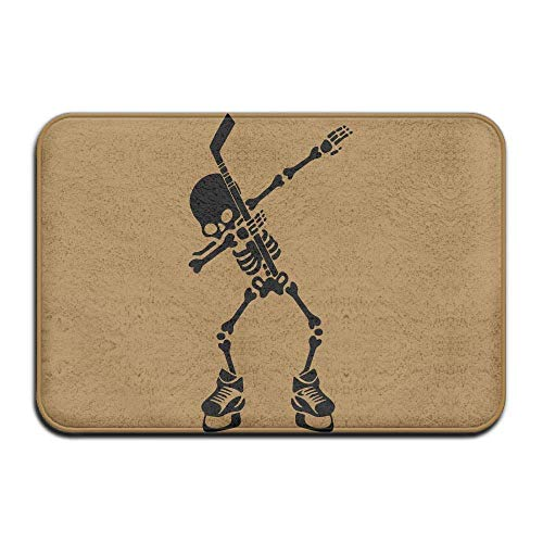 CUKENG Inside & Outside Carpets Floor Door Mat Hockey Skeleton Dabbing Halloween Design Pattern for Front Porch 23.6