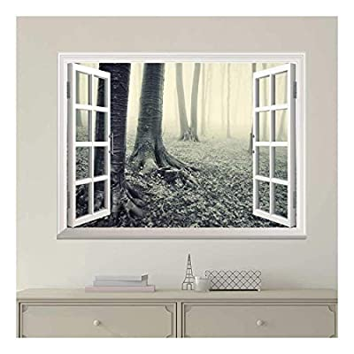 Modern White Window Looking Out Into a Gray Foggy Forest - Wall Mural, Removable Sticker, Home Decor - 36x48 inches