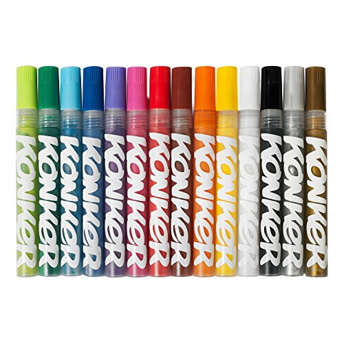 Konker Colors Acrylic Paint Markers - Endlessly Refillable - Permanent Artist Pigments - Opaque Matte Finish - Safe & Non Toxic - for Rocks Metal Wood Canvas Glass Paper Fabric - 2mm - 14 Colors Set