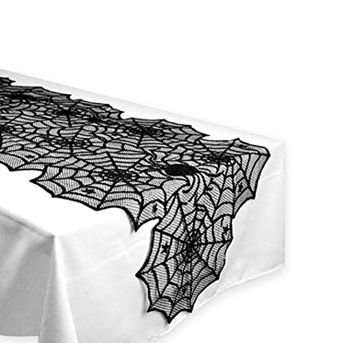 Vovomay Halloween Polyester Lace Dinner Parties Table Runner, Black Spider Web Restaurant Decor]()