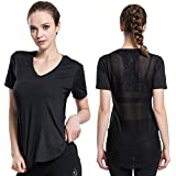 ChinFun Women's Short Sleeve Mesh Workout Yoga Active Shirt Running Top