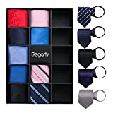 Zipper Ties for Men, 14PCS Segarty Solid Convenient Mens Pre Tied Neckties Set, Various Color Pattern Skinny Woven Silk Pre-made Neck Tie for Business, Casual, Formal and Wedding