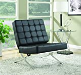 Coaster Home Furnishings  Modern Contemporary Barcelona Style Biscuit Tufted Lounge Accent Chair - Black Faux Leather / Chrome