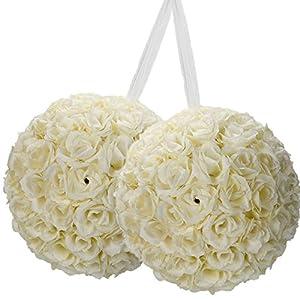 20 Pack Romantic Rose Pomander Flower Balls Rose Bridal for Wedding Bouquets Artificial Flower DIY Ivory 2