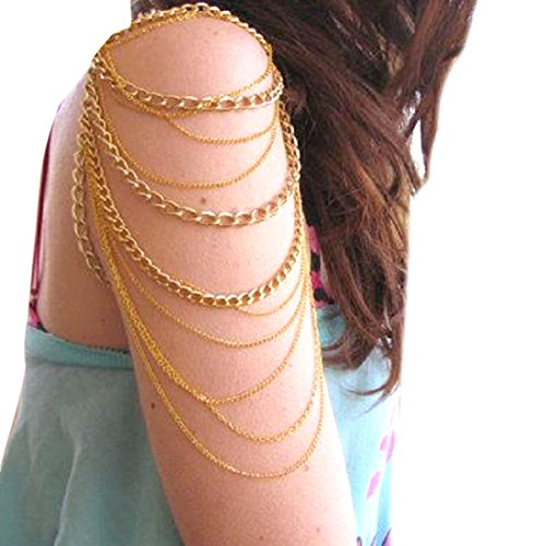 Voberry® Women's Vintage Gold Tassels Arm Harness Slave Chain Upper Cuff Armband Armlet Bracelet (Arm Band Jewelry)