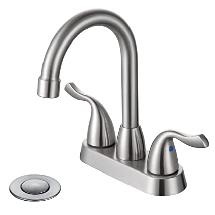 Attrayant DESFAU Modern 3 Hole 4 Inch Centerset Two Handle Bathroom Faucet With Drain  Assembly,High