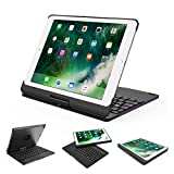 New iPad 9.7,iPad Pro 9.7 Keyboard Case-Nasion.V Backlit Wireless Bluetooth Keyboard with 360 Rotation Slim Hard Shell Aluminum Alloy Protective Cover for Apple iPad Pro 9.7,2017 New iPad 9.7-Black