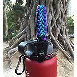 Flask Paracord Mango soporte para boca ancha botella & # xFF0C; Carrier Cable de supervivencia con anillo y mosquetón de seguridad para Hydro Flask Nalgene Camelbak Wide Botellas 12oz 18oz 32oz 40oz