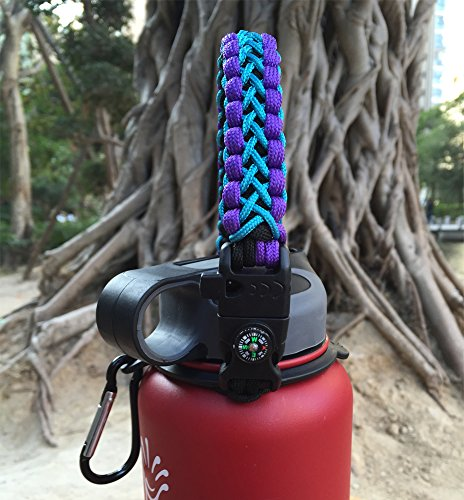 Handle for Hydro Flask - Paracord Survival Strap with Security Ring for Wide Mouth Water Bottles Carrier (Black/Purple/Blue) by MOCE